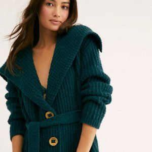 FREE PEOPLE SWEATER COAT WOOL BLEND THICK S